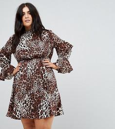 Платье с высоким воротом и ярусными рукавами Club L Plus - Мульти