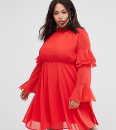Платье с высоким воротом и ярусными рукавами Club L Plus - Красный