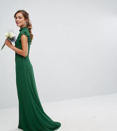 Облегающее шифоновое платье макси с расклешенными рукавами TFNC Petite WEDDING - Зеленый