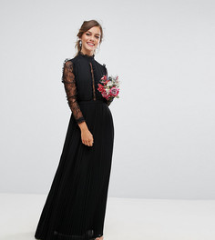 Плиссированное платье макси с высоким воротом и кружевными рукавами TFNC Petite WEDDING - Черный