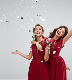Платье макси с кружевной отделкой TFNC Petite WEDDING - Красный