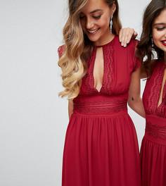 Платье миди с кружевной отделкой TFNC Tall WEDDING - Красный