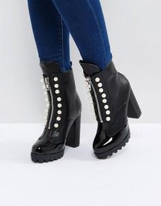 Ботинки на молнии с искусственным жемчугом PrettyLittleThing - Черный
