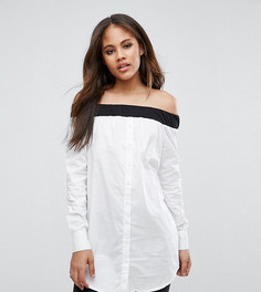 Рубашка на пуговицах с открытыми плечами Noisy May Tall - Белый