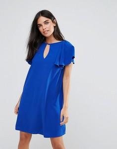 Свободное платье с оборками на плечах Paper Dolls - Синий