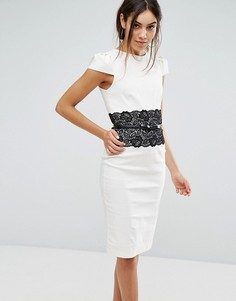 Облегающее платье с кружевной вставкой Paper Dolls - Черный
