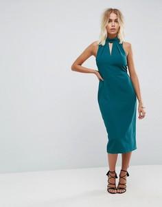 Платье-футляр с высоким воротом и вырезом-капелькой Closet London - Синий
