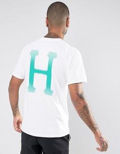 Футболка с классическим логотипом на спине HUF - Белый