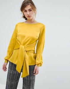 Атласная блузка с завязкой Closet London - Желтый