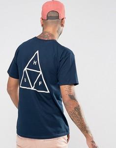 Футболка с тремя треугольниками HUF - Темно-синий
