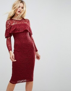 Кружевное платье-футляр миди с длинными рукавами и оборкой ASOS - Красный