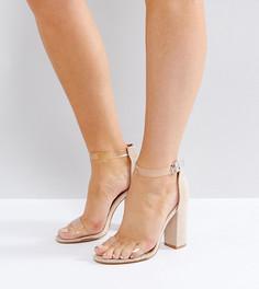 Босоножки на блочном каблуке с прозрачными ремешками для широкой стопы Truffle Collection - Бежевый