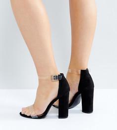 Босоножки на блочном каблуке с прозрачными ремешками для широкой стопы Truffle Collection - Черный