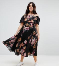 Черное приталенное платье миди со спущенными плечами и цветочным принтом ASOS CURVE - Мульти
