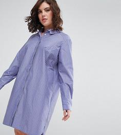 Хлопковое платье-рубашка в полоску ASOS CURVE - Мульти