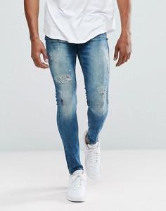Синие джинсы скинни с эффектом потертости YOURTURN - Серый