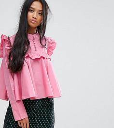 Свободная рубашка с высоким воротом Sister Jane Petite - Розовый