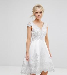 Платье миди из премиум-кружева с короткими рукавами и фигурной отделкой на спине Chi Chi London Petite - Серебряный