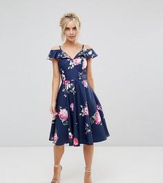 Платье миди с открытыми плечами и оборками Chi Chi London Petite - Мульти
