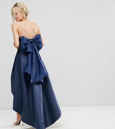 Платье-бандо миди с бантом на спине Chi Chi London Petite - Темно-синий