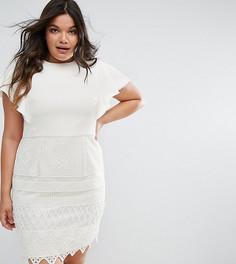 Платье-футляр 2 в 1 с кружевной юбкой Chi Chi London Plus - Белый