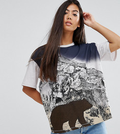 Свободная футболка в стиле ретро с принтом медведя ASOS PETITE - Серый