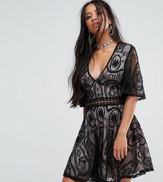 Кружевное чайное платье Sisters Of The Tribe Petite - Черный