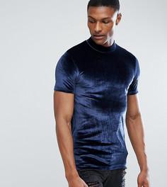 Обтягивающая футболка из велюра с высоким воротом ASOS TALL - Темно-синий