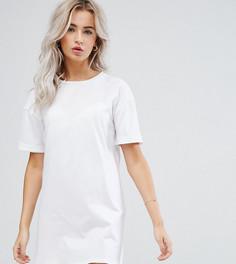 Платье-футболка с отворотами на рукавах ASOS PETITE Ultimate - Белый