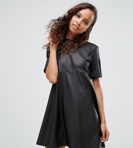 Полиуретановое платье-футболка мини ASOS PETITE - Черный