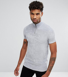 Махровая футболка на молнии ASOS TALL - Серый