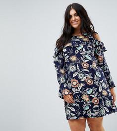 Платье с цветочным принтом, рюшами и вырезами на плечах AX Paris plus - Мульти