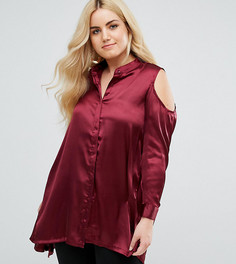 Атласная рубашка с вырезами на плечах AX Paris Plus - Красный