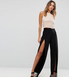 Широкие брюки с кружевом по краю ASOS TALL - Черный