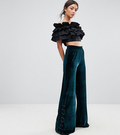 Бархатные широкие брюки ASOS TALL EXCLUSIVE - Зеленый