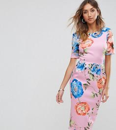 Розовое платье миди с цветочным принтом ASOS TALL - Розовый