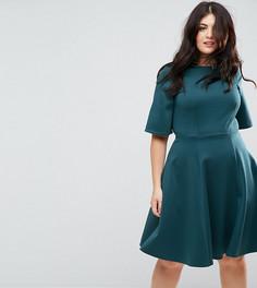 Короткое приталенное платье с рукавами-кимоно Closet London Plus - Синий