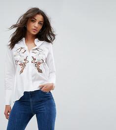 Свободная рубашка с открытой спиной и вышивкой Glamorous Tall - Белый