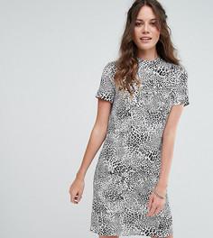 Платье А-силуэта с вырезом под горло и черно-белым леопардовым принтом Glamorous Tall - Серый