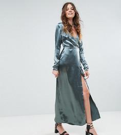 Атласное платье макси с запахом и контрастной окантовкой Glamorous Tall - Синий