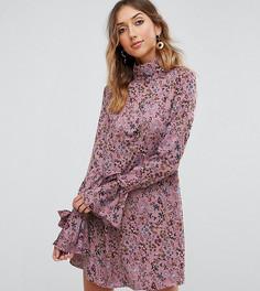 Платье-трапеция с воротником-стойкой и завязками на манжетах Glamorous Tall - Фиолетовый