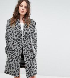 Строгое пальто с монохромным леопардовым принтом Glamorous Tall - Серый