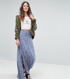 Юбка макси с разрезами и цветочным принтом Glamorous Tall - Синий
