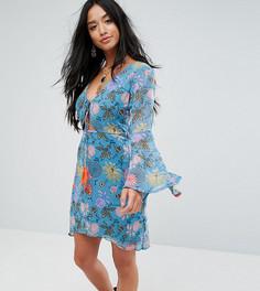 Чайное платье с длинными рукавами и цветочным принтом Glamorous Petite - Синий