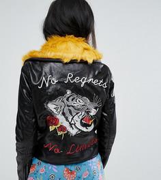 Байкерская куртка с контрастным мехом на воротнике и отделкой на спине Glamorous Petite - Черный