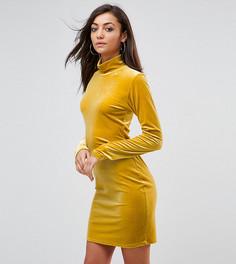 Бархатное облегающее платье с высоким воротом Glamorous Tall - Желтый