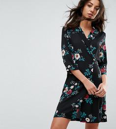 Чайное платье с цветочным принтом и запахом Glamorous Tall - Черный