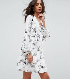 Свободное платье с полупрозрачным верхним слоем Glamorous Tall - Белый