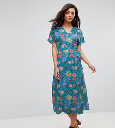 Чайное платье с запахом и цветочным принтом Glamorous Tall - Синий