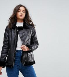 Байкерская куртка с подкладкой из искусственной овечьей шерсти Glamorous Tall - Черный